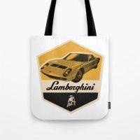 lamborghini Tote Bags featuring Lamborghini Miura by Liviu Antonescu