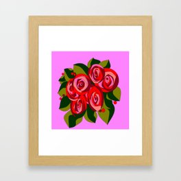 A Bouquet of Big Flowers with Pink Background Framed Art Print