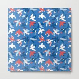 Birds Blue Red White Metal Print