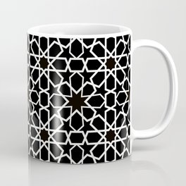 white oriental pattern on black background - seamless pattern traditional morocco style Coffee Mug