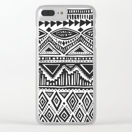 zig-zag handdrawn black and white Clear iPhone Case