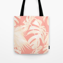 Tropical Coral Pink Palm Leaf Pattern Tote Bag