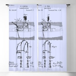 1887 Oarsman's Harness Blue Patent Blueprint Boat Blackout Curtain