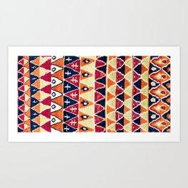 Beni Ouarain Antique Morocco North African Pile Rug Art Print