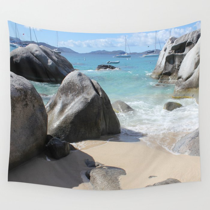 Scenic Beach at The Baths on Virgin Gorda, BVI Wall Tapestry
