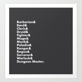 Dungeons and Dragons - Classes Art Print