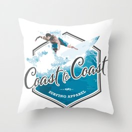 Surfing Coast to Coast Throw Pillow