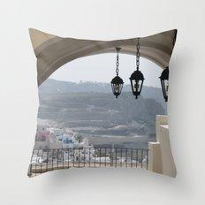 Lighting Santorini, Greece Throw Pillow