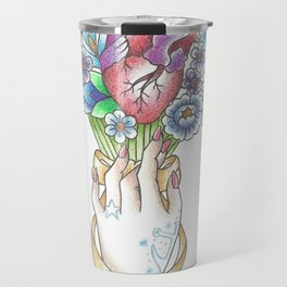 Valentine's Day Hearts and Flowers: Sailor Jerry Style Travel Mug