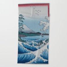 Sea Off Satta - Japanese Woodblock Print by Hiroshige Beach Towel