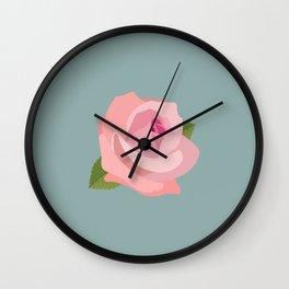 Pink Rose Illustration on Teal Wall Clock