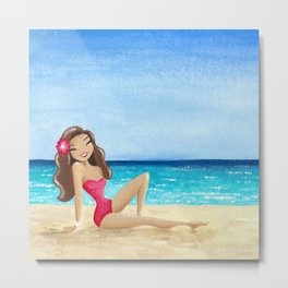 Vintage beach girl with red swimsuit Metal Print
