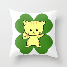 Cat On Four Leaf Clover - St. Patricks Day Funny Throw Pillow