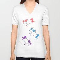 unicorns V-neck T-shirts featuring Unicorns! by Kashidoodles Creations