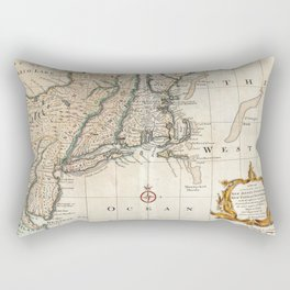 New England Ancient Map (1747) Rectangular Pillow