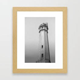 Alcatraz Lighthouse (Black and White Version) Framed Art Print