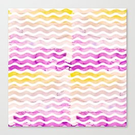 Neon pink yellow watercolor geometric wave pattern Canvas Print