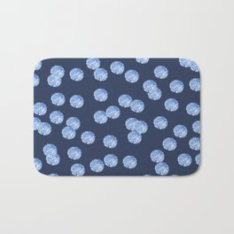 Blue Polka Dots Pattern on Blue Grey Bath Mat