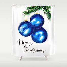 Blue Christmas Tree Ornaments Shower Curtain