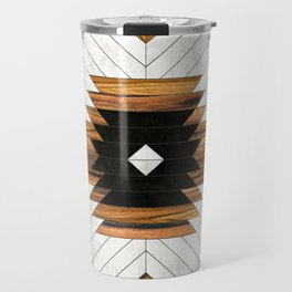 Urban Tribal Pattern No.5 - Aztec - Concrete and Wood Travel Mug