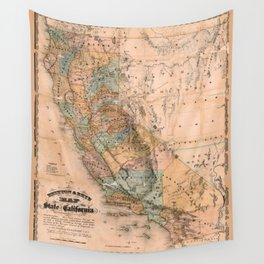 Map Of California 1861 Wall Tapestry