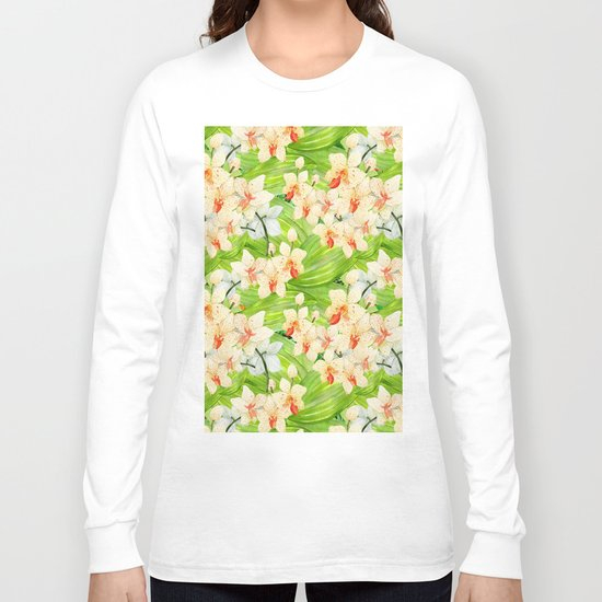 Tropical Floral Orchid Flower Pattern - Flowers on #Society6 Long Sleeve T-shirt