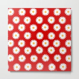 Daisy red pattern Metal Print