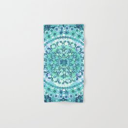 Aqua Mosaic Mandala Hand & Bath Towel