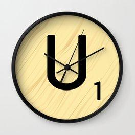Scrabble U Initial - Large Scrabble Tile Letter Wall Clock