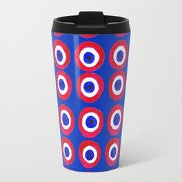 Donut Evil Eye Amulet Talisman - red on blue doughnut Travel Mug