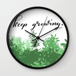 Keep Growing Lettered Illustration Wall Clock