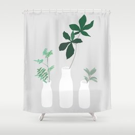 minimal plants in grey Shower Curtain