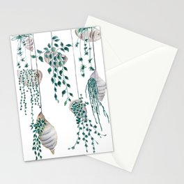 hanging plant in seashell Stationery Cards