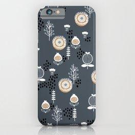 Fall garden poppy flowers and leaves dark night pattern print design iPhone Case