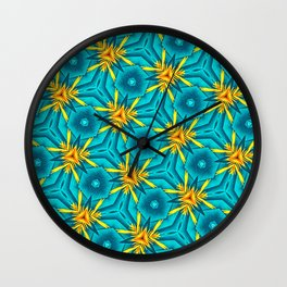 Birds of Paradise Floral Pattern \\ Unique Tropical Vibes \\ Green Yellow Blue Orange Color Scheme Wall Clock