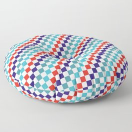Gridded Red Tale Blue Pattern Floor Pillow