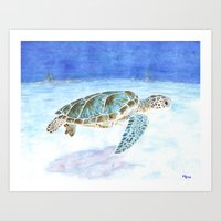 sea turtle Art Prints featuring Sea turtle by Savousepate