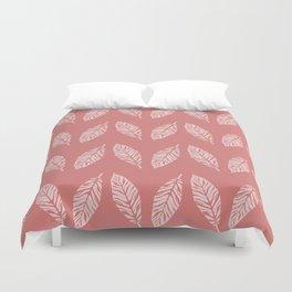 Tropical foliage Flamingo Pink #tropical #leaves #homedecor Duvet Cover