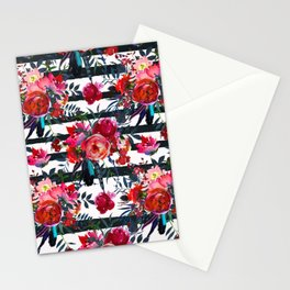Cheerful Bright Magenta and Pink Bouquets with Feathers on White with Black Stripes Stationery Cards