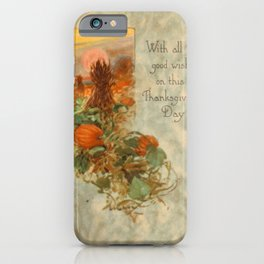 Thanksgiving postcards 063 With all good wishes on this Thanksgiving Day iPhone Case