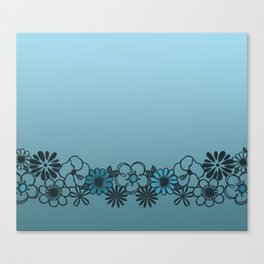 Kitschy Flower Medley Turquoise Canvas Print