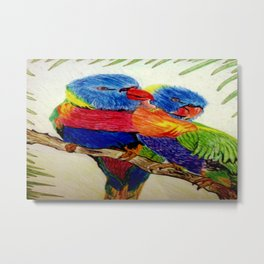 Aboriginal Art - Birds Metal Print