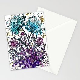 Purple floral watercolor abstraction Stationery Cards