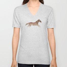 Running Watercolor Horses Brown Unisex V-Neck