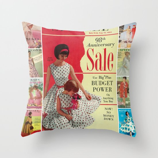 1963 - 98th Anniversary Sale -  Summer Catalog Cover Throw Pillow