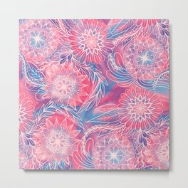 Artsy Girly Pink Blue Paint Floral Illustrations Metal Print
