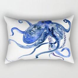 Octopus Design Blue Navy Blue Beach Rectangular Pillow