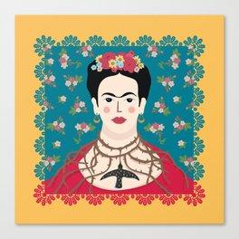 Frida Viva Cushion Yellow Canvas Print