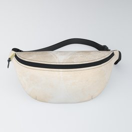Antique World Map White Gold Fanny Pack