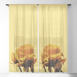 Vintage Yellow Rose and buds Sheer Curtain